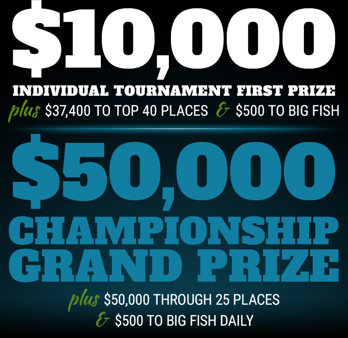 $10,000 individual tournament first prize plus $37,400 to top 40 places and $500 to big fish | Championship Grand Prize is a 2019 fully rigged Phoenix 819 Pro with Mercury 200 plus $40,000 to top 25 places and $500 to big fish